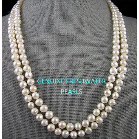 Elegant Women's Multi-Row Torsade Fringe White Pearl Bead Chain Bib Necklace