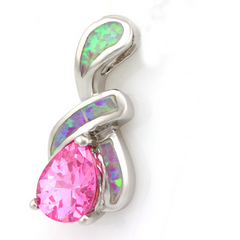 18K White Gold Over Pink Crystal and White Opal Pendant -  New Fashion Finds By Carole