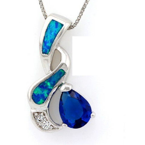 18K White Gold Over White, Blue Crystal & Synthetic Blue Opal Pendant -  New Fashion Finds By Carole
