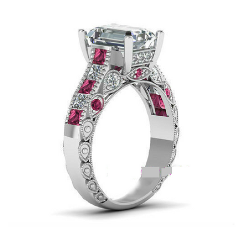 White Gold Plated Elegant Emerald Cut Pink CZ -  New Fashion Finds By Carole