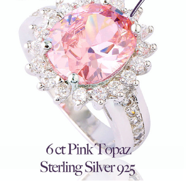 Stunning 6 ct Pink & White Topaz Sterling Silver 925 Ring -  New Fashion Finds By Carole