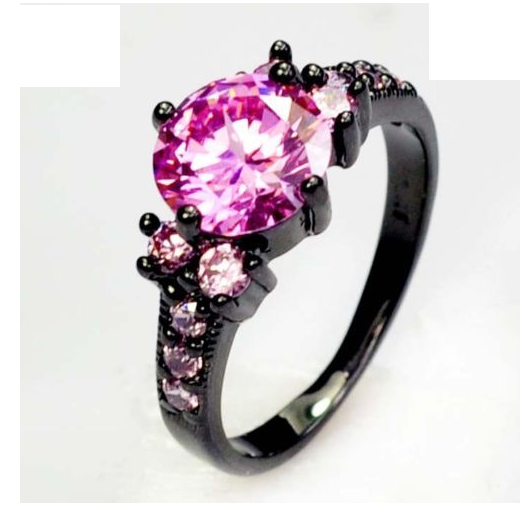Ring; Black Gold Plated, Pink CZ -  New Fashion Finds By Carole