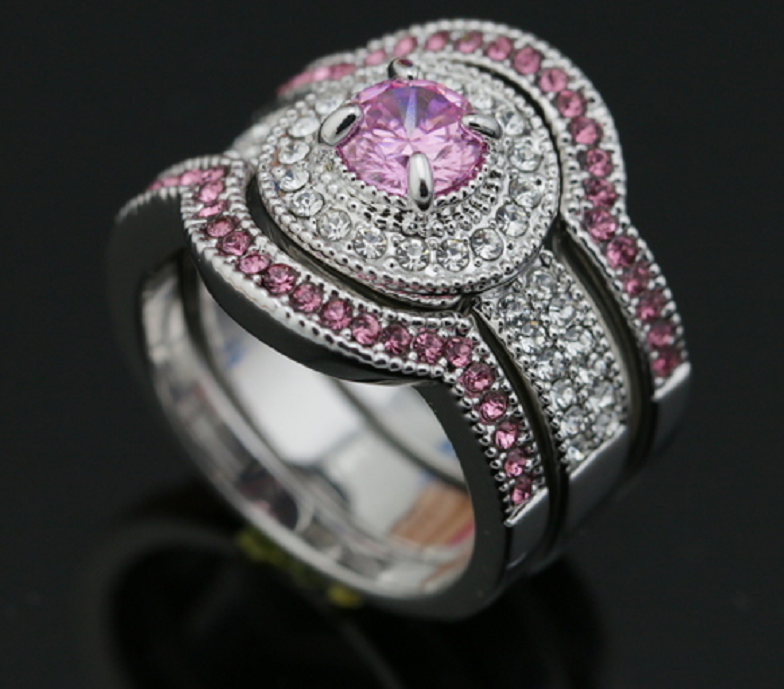 Gorgeous 18K White Gold Plated Pink Cubic Zirconia  ring set -  New Fashion Finds By Carole