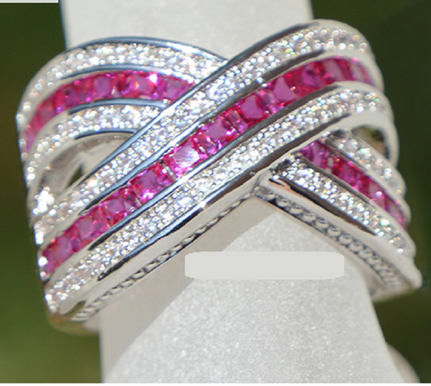 Stunning Hot Pink Criss Cross Design Ring -  New Fashion Finds By Carole