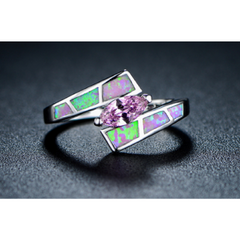 18K White Gold Plated Pink CZ & Pink Fire Opal Ring -  New Fashion Finds By Carole