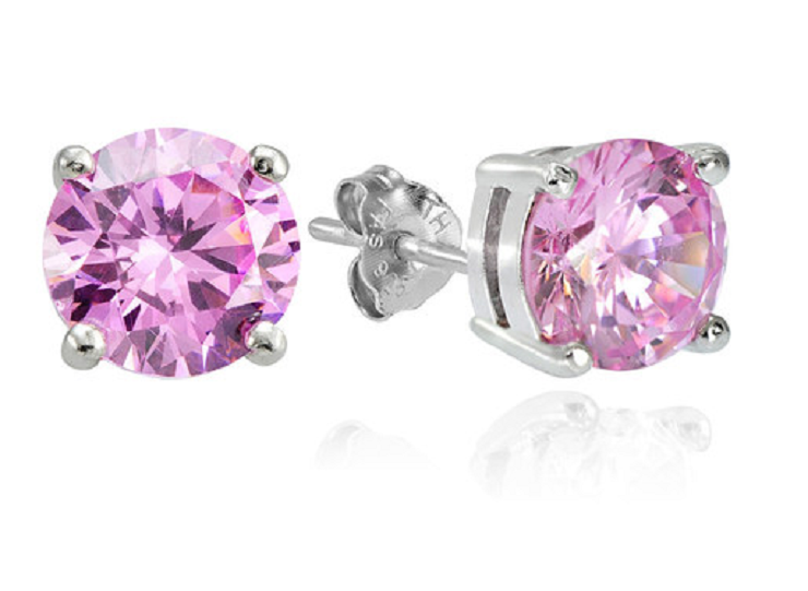 Sterling Silver 5.5ct Light Pink Cubic Zirconia 9mm Round Stud Earrings -  New Fashion Finds By Carole