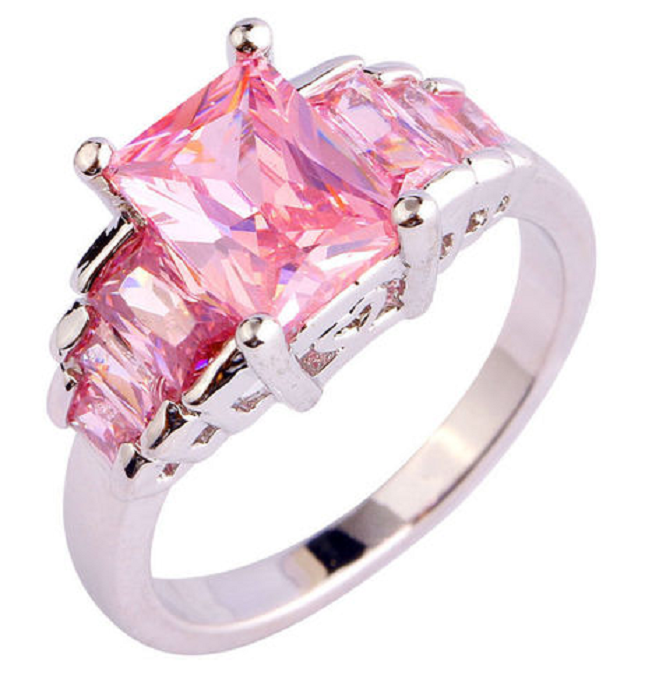 Luxurious Emerald Cut Pink Cubic Zirconium With Sterling Silver plated band -  New Fashion Finds By Carole