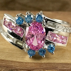 4ctw Pink Ice and Topaz in solid 14K Gold Filled Ring -  New Fashion Finds By Carole