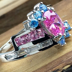 4ctw Pink Ice and Topaz in solid 14K Gold Filled Ring