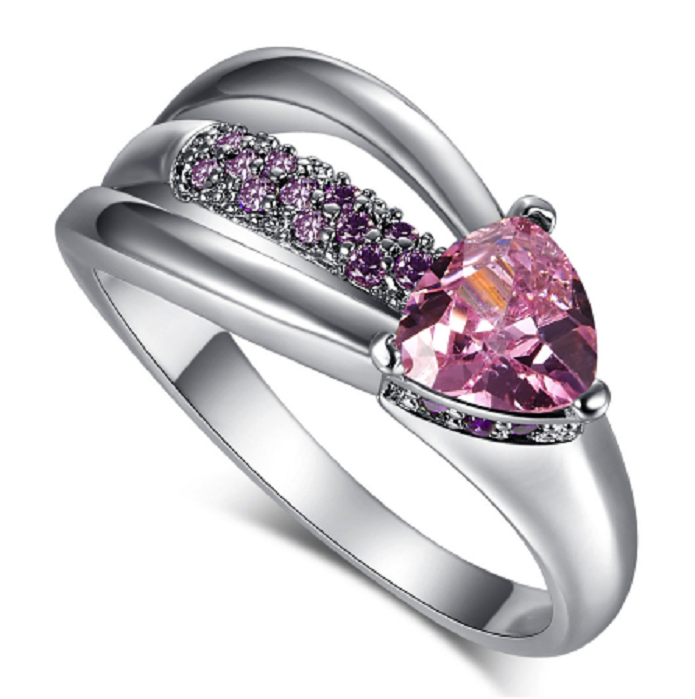 Pink CZ Heart White Gold Plated; Beautiful Ring -  New Fashion Finds By Carole
