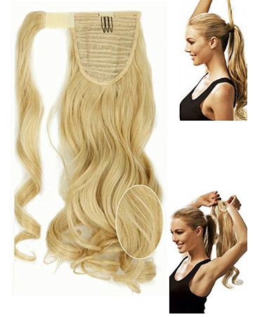 S-noilite 17 Inches Curly Baby Blonde Mix Bleach Blonde Wrap Around on Ponytail Clip in Hair Extensions Hairpiece Pony Tail Extension for Girl Lady Woman -  New Fashion Finds By Carole