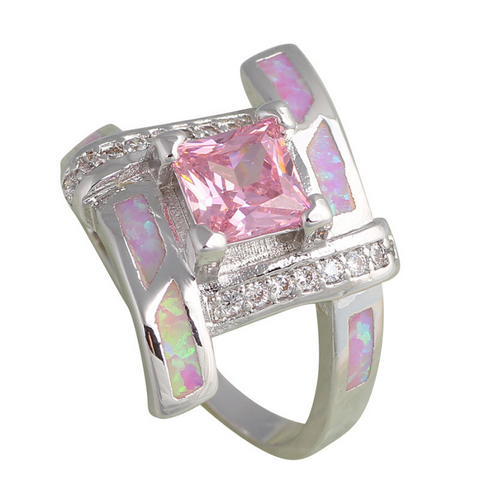 Pretty Pink Zircon with Beautiful  lab created Pink fire Opal; Silver Plated Base Ring. -  New Fashion Finds By Carole