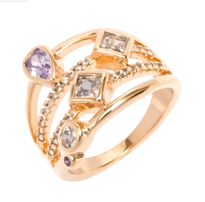 Cubic Zirconia & Gold Ring -  New Fashion Finds By Carole