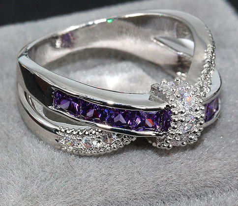 White Gold Plated Purple Amethyst Ring -  New Fashion Finds By Carole