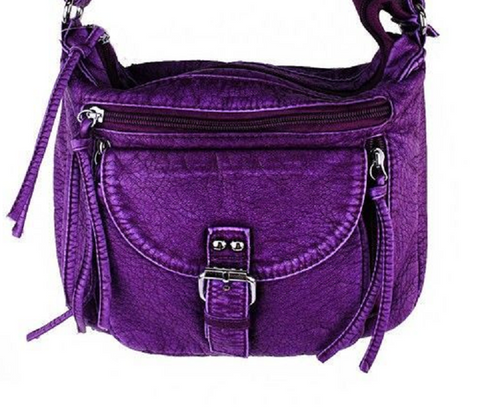 Purple Soft Tooled Leather Stone Concho Cross Body Bag -  New Fashion Finds By Carole