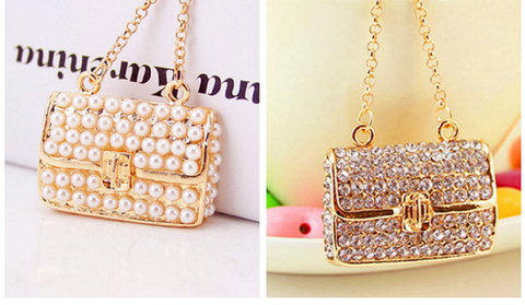 2 in a set - Cute Shiny Bag Shape Key Chain Bag Pendant Car Decoration