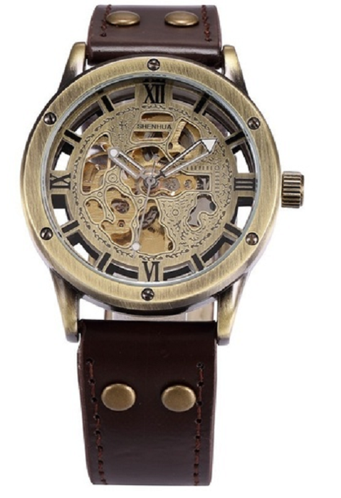SHENHUA 9397 Retro Bronze Leather Band Men's Vintage Casual Mechanical Watch -  New Fashion Finds By Carole