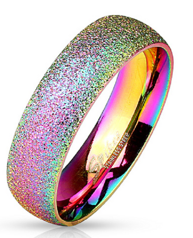 Sand Blast Finish Rainbow IP Classic Dome Ring 316L Stainless Steel -  New Fashion Finds By Carole
