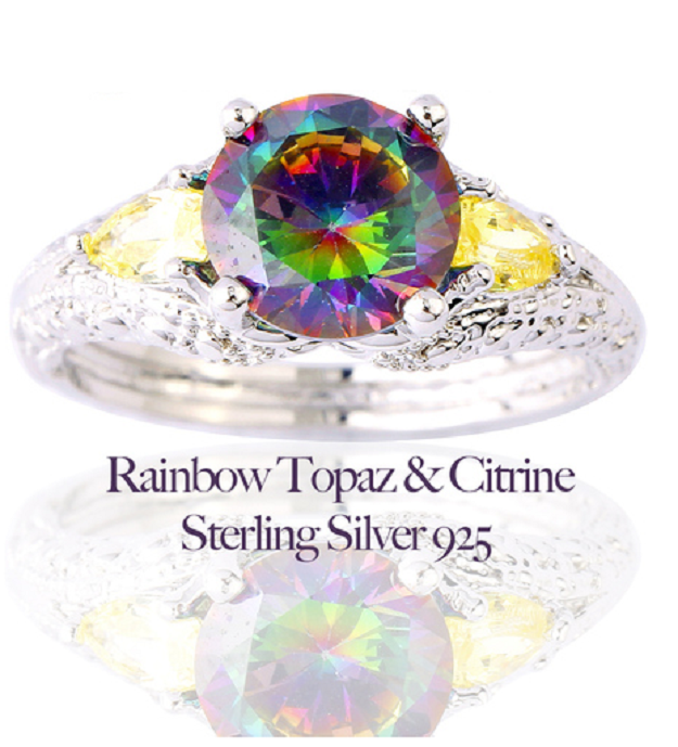 Lovely Rainbow Topaz & Citrine Sterling Silver 925 Ring -  New Fashion Finds By Carole