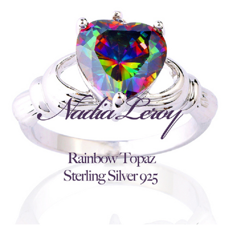 Claddagh Genuine Rainbow Topaz 925 Silver Cocktail Ring -  New Fashion Finds By Carole