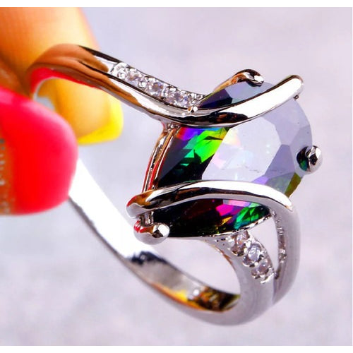 Beautiful Rainbow stone Sterling Silver plated ring. -  New Fashion Finds By Carole