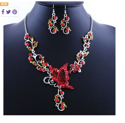 Holiday red Butterfly Flower Crystal Jewelry Set!  Including one necklace and one pair of earrings!! -  New Fashion Finds By Carole