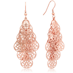 18k Rose Gold Plated Filigree Drop Earrings -  New Fashion Finds By Carole
