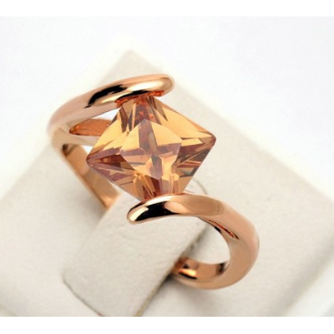 AAA Crystal 18 K Rose Gold Plate Square Orange Halo Ring -  New Fashion Finds By Carole