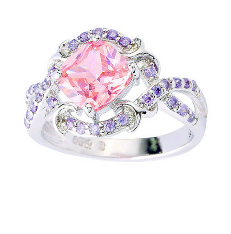 Belle Rose Pink Topaz & Amethyst .925 Sterling Silver Ring -  New Fashion Finds By Carole