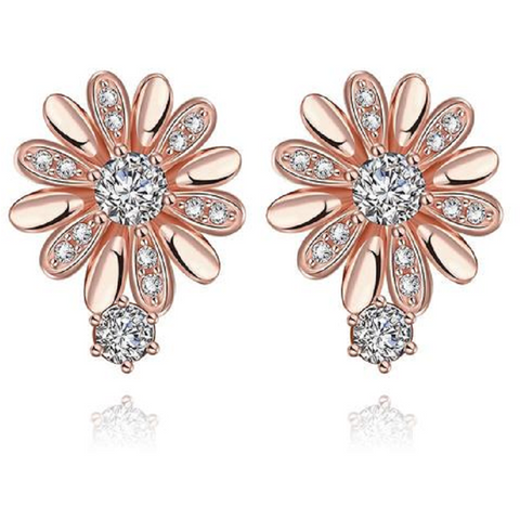 18K Rose Gold Plated CZ Earrings -  New Fashion Finds By Carole
