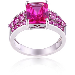 18K White Gold Plated Ring with Genuine Ruby -  New Fashion Finds By Carole