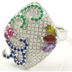 1.25ctw Genuine Blue & White Sapphire, Emerald, Ruby, Amethyst & Peridot -  New Fashion Finds By Carole