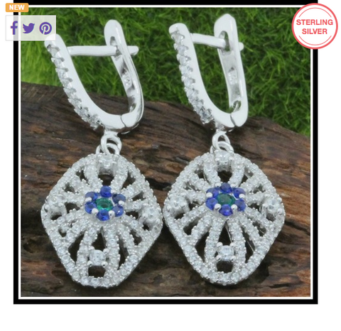 Solid .925 Sterling Silver & 18k White Gold, Blue Sapphire & White Topaz Earrings -  New Fashion Finds By Carole