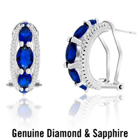 18K White Gold Diamond Accent and Sapphire Clip Post Earrings -  New Fashion Finds By Carole