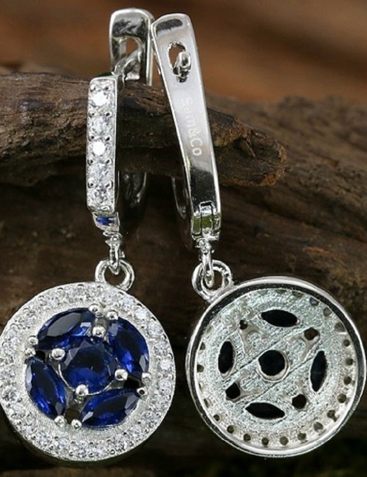 Solid .925 Sterling Silver & Platinum, White Sapphire & Blue Sapphire Earrings -  New Fashion Finds By Carole