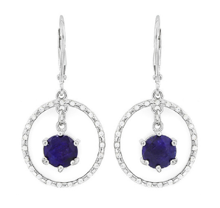 Solid .925 Sterling Silver w/18k White Gold 3.75ct White and Blue Sapphire Earrings -  New Fashion Finds By Carole