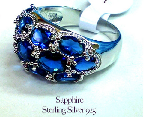Gorgeous Sapphire Sterling Silver 925 Ring -  New Fashion Finds By Carole