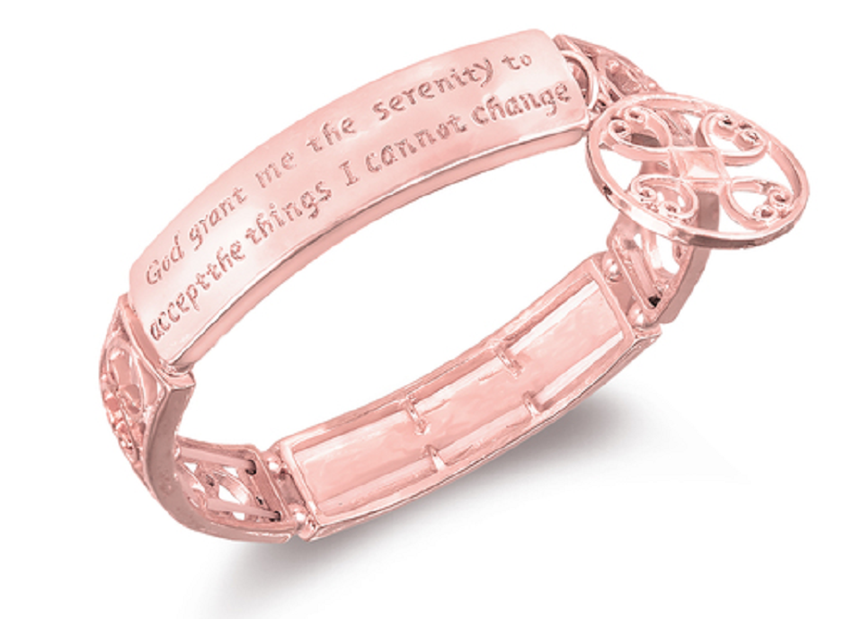 Rose Gold plated Serenity Prayer Engraved Bracelet -  New Fashion Finds By Carole