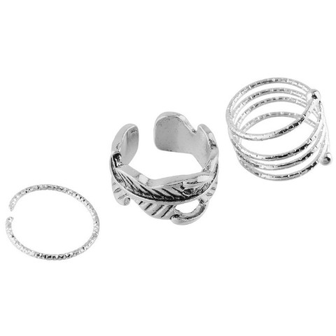 Adjustable Silver Rings - Set of 3 -  New Fashion Finds By Carole