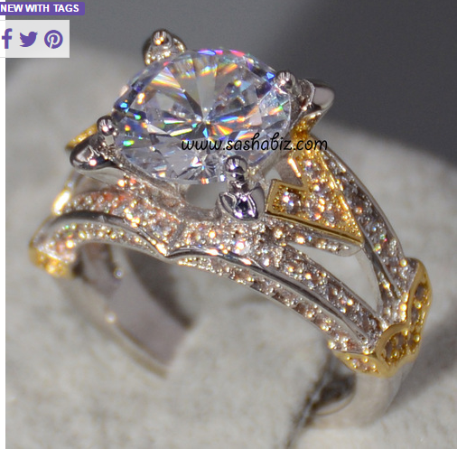Shining Two Tone Gold Wedding Engagement Promise CZ Ring -  New Fashion Finds By Carole