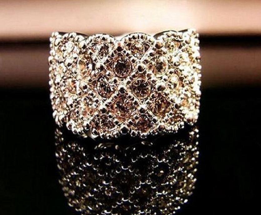 Gold Plated Shiny Rhinestone Ring -  New Fashion Finds By Carole