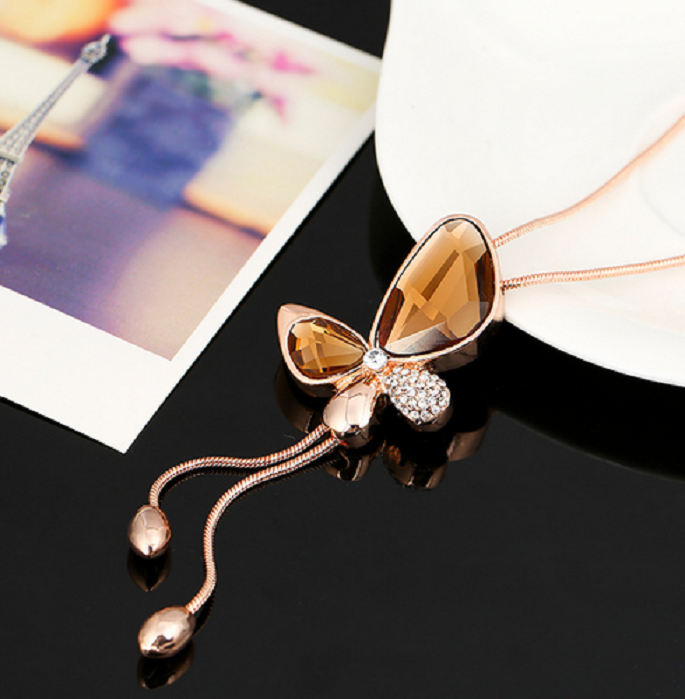 Fashion Crystal Butterfly Necklace Tassel Style -  New Fashion Finds By Carole