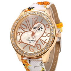 Female Casual Quartz Watch Leather Strap Big Arabic Numeral Scales Heart Decoration -  New Fashion Finds By Carole