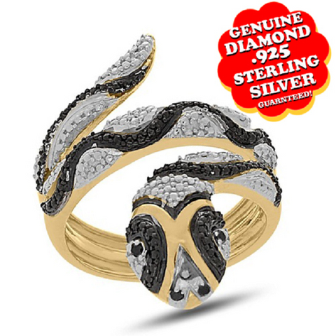Genuine Diamond Snake Ring In Black &White Diamonds 14K Gold -  New Fashion Finds By Carole