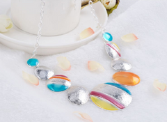 Fashion Ethnic Necklace For Women Silver Plated Colorful Round Chokers Statement Necklace -  New Fashion Finds By Carole