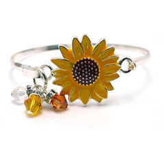 Beautiful Sunflower Bracelet with 3 Swarovski Crystal Charms -  New Fashion Finds By Carole
