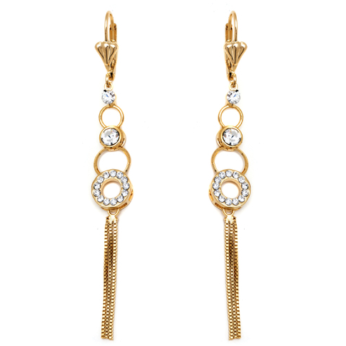 18k Gold Plated Gold and Clear Crystal Rings with Tassel Drop Earrings -  New Fashion Finds By Carole