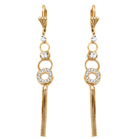 18K Gold and Silver Plated Crystal Pink Rhinestone CZ Eternity Women Girl Hook Dangle Earrings