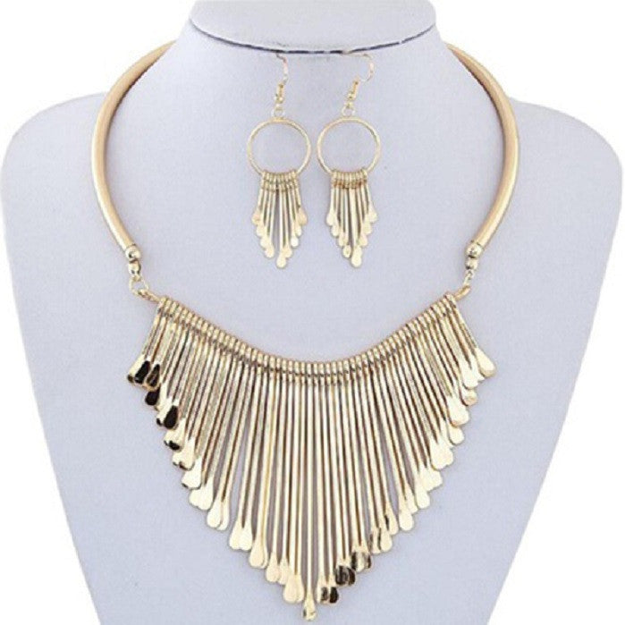 Fashion Luxury Womens Metal Tassels Pendant Chain Bib Necklace Earrings Jewelry Set -  New Fashion Finds By Carole