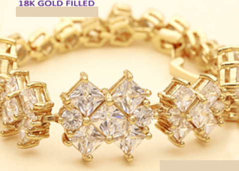 10.0 Ctw White Sapphire Princess Cut, Gold Filled Tennis Bracelet -  New Fashion Finds By Carole